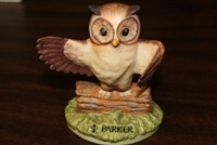 Parker Owl Figurine and Vintage Promo Ad